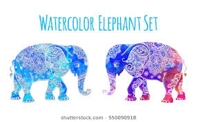 elephant color. Plain Elephant Elephant Color Illustration Vector Set Watercolor Print For Clothing  Design And Color L