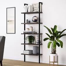 theo warm nutmeg 5 shelf ladder bookcase with metal frame