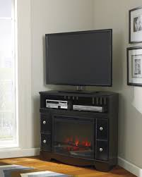 Tv Stand Decor Furniture Dark Painted Pine Wood Corner Media Stand With Electric