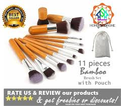 high quality makeup brush set 11 pieces bamboo make up brush set with pouch