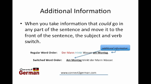 german word order subject verb switch part 1