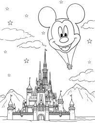 Disegno Di Castello Disney Con Mongolfiera Topolino Da Colorare