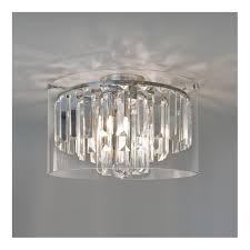 modern bathroom chandelier with crystal glass droplets and glass surround