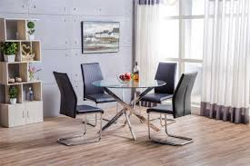 novara chrome metal round glass dining table and 4 black white dining chairs