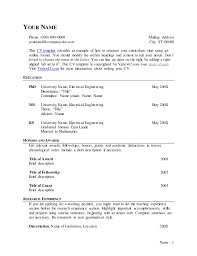 Curriculum Vitae Outline