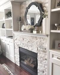 gas fireplace blends with built in shelves