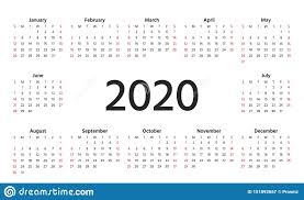 November 2020 Calendar Landscape 2020 Calendar Year Vector Illustration Template Planner