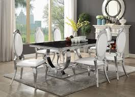 halawa i collection contemporary style white finish pedestal dining table set for 6 7 pc antoine collection chrome metal base dining table set with