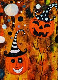 pumpkin trees orange black haunted house mixed a painting 250 00 via