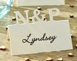 table place cards. wedding place cards, personalised initials table cards