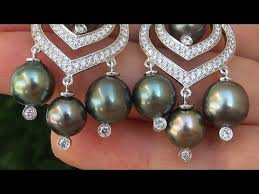 estate certified natural tahitian pearl diamond chandelier 18k white gold earrings c575