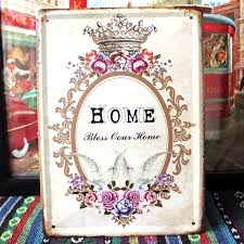 vintage home decoration bless our home retro slogan signs metal wall art decor house on bless this home metal wall art with vintage home decoration bless our home retro slogan signs metal