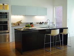 Kitchen:Spacious Modern Small Kitchen Design With Breakfast Bar Island Ideas  Plus Arch Faucet Also