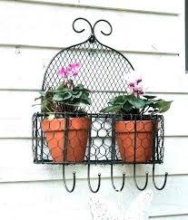 rustic wall planter garden planters metal wire flower pot holder hanger 5 hooks mounted nz
