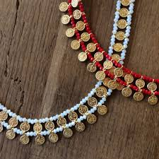Crystal Beads Necklace Designs In Gold Handcrafted In Istanbul Turkey Small Gold Coin Detail With