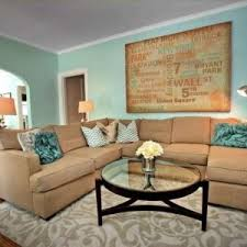 Great Teal And Tan Living Room Design