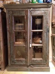 vintage rajasthani glass door cabinet fair trade faurnoture homewares