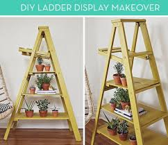 Wooden Ladder Display Stand Enchanting How To Turn A Ladder Into A Colorful Plant Stand Or Bookshelf