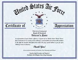 Certificates Of Appreciation Military Veterans Appreciation Certificates