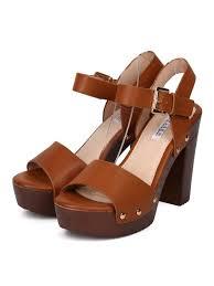 women leatherette open toe faux wooden platform chunky heel sandal