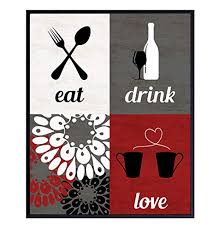 5% coupon applied at checkout save 5% with coupon. Kitchen Wall Art Decoration Poster 8x10 Dining Room Decor Gift For Women Woman Wife Her Girlfriend Chef Cook Cute Floral Boho Bohemian Unframed Prints Red Eat Drink Love