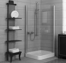 Endearing Corner Modern Walk In Shower With Black Wooden Open Sheves As  Towel Rack Ideas In Modern Grey Bathroom Designs Ideas