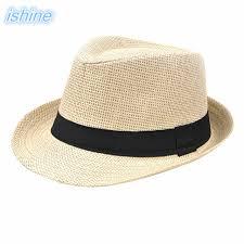 Ishine Man Women Summer Beach Hat Female Casual Panama Jazz Lady Classic Straw Sun Anti-UV For Vacation