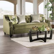 kaye transitional sofa in olive green