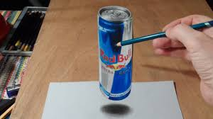 how to draw a 3d red bull can of energy drink step by step diy tutorial instructions