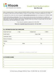 credit card authorization form templates multiple user credit authorization form