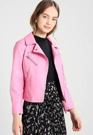 onynew sum biker faux leather jacket nia pink