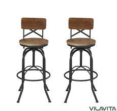 vilavita set of 2 adjule round wooden bar stools with backrest retro finish bar chairs with wooden seat and wrought iron frame swivel bar stool