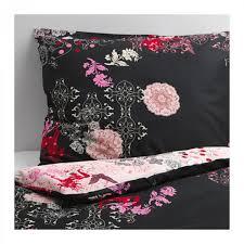 ikea silkeslen twin duvet cover pillowcase set fl hearts black pink oriental dramatic