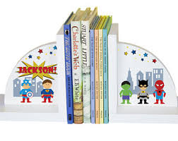 Custom Super Hero Bookends Child's Personalized Superhero Book Ends  Children's Books Playroom Nursery Boy Boys Bed