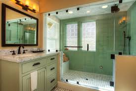 craftsman bathroom with shower are in green tiles floor green tiles wall green marble