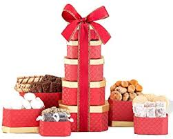 truffle cookie chocolate holiday gift tower by wine country gift basket loaded with lindt