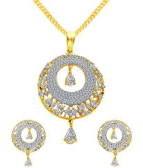 mfj fashion jewellery designer collection latest design party wear gold plated pendant set with earring for women girls mfj fashion jewellery