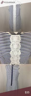 Ivy Blu Knee Length Dress Blue And White Stripped Dress