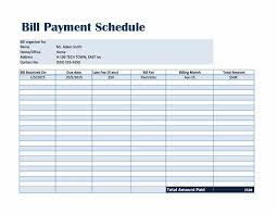 Billing Schedule Template Excel Bill Payment Schedule Template Excel