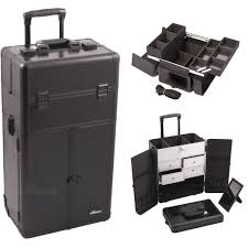 Sunrise Makeup Case With Lights Professional Black Croc Trolley Portable Cosmetic Makeup