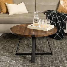 dark walnut black rustic urban industrial wood and metal wrap round coffee table