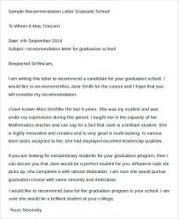 Sample Re mendation Letter Graduate School