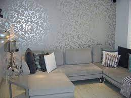elegant grey wallpaper living room
