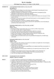 Tax Analyst Resume Sample Senior International Tax Analyst Resume Samples Velvet Jobs 5