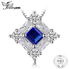 2019 jewelrypalace octagonal 1 7ct blue lab created sapphire pendant necklaces for woman genuine 925 sterling silver 45cm box chain from frenky