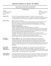 Resume Format For Music Teacher