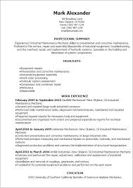 Resume Templates: Industrial Maintenance Mechanic Resume