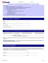 Automatic Withdrawal Form Template Authorization Automatic Form Fill Online Printable