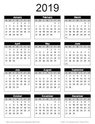 2019 Calendar Portrait Orientation Printable Yearly