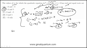 quadratic equations and equal roots gmat problem solving question 71